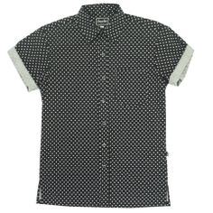 Black Polka Dot SS Shirt w/Rolled Sleeve