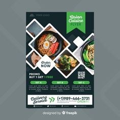 Restaurant flyer template with photo Free Vector Food Graphic Design, Food Menu Design, Flyer Design, Japan Sushi, Food Catalog, Restaurant Flyer, Adobe Illustrator, Photography Pricing, Packaging