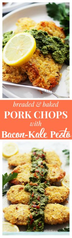 Breaded Baked Pork Chops with Bacon-Kale Pesto - Tender and delicious Pork Chops coated in oyster crackers and cheese served with a side of a truly mouthwatering homemade Bacon-Kale Pesto. | #ChoppedAtHome #ad
