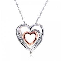 Two Tone Gold Double Hearts Diamond Pendant