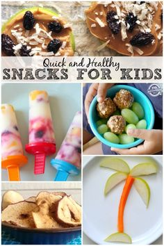 {and Quick} Snacks for Kids Awesome list of snacks for kids that are healthy and quick to put together.Awesome list of snacks for kids that are healthy and quick to put together. Quick Snacks For Kids, Healthy Kids, Kid Snacks, Kid Lunches, Fruit Snacks, Lunch Snacks, School Lunches, Easy Snacks, Snacks List