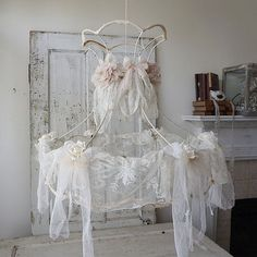 Shabby white lace lampshade antique French door AnitaSperoDesign
