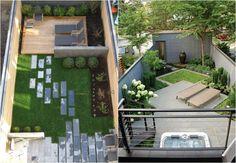 modern gestaltete kleine Gärten - Muster aus Fliesen und Rasen