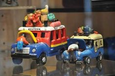 Colombian Ceramic Cars: Vehicle sculptures made in the mid 1980s by different artists in Colombia representing those often found on treacherous roads from the Andes to the Upper Amazon.