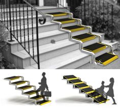 Convertible is a conceptual user-friendly staircase which can be transformed into a ramp. It's an ingenious idea to help elderly people or anyone who has w Handicap Accessible Home, Handicap Ramps, Ramp Design, House Design, Handicap Bathroom, Ada Bathroom, Wheelchair Ramp, Home Modern, Diy Décoration