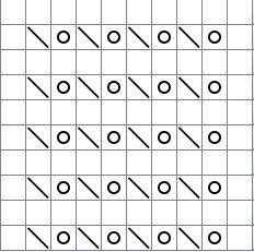 A sample chart for a lace knitting pattern.