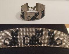 Schwarze Katze Armband Loom Perlen Armband Sie von TuTuStudio