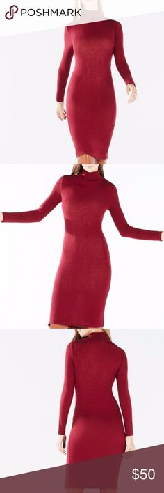 Women's Aeryn Long Sleeve Turtleneck Dress! BCBG Master the art of nonchalant chic in this season's on-trend turtleneck dress – an essential layering piece as cool weather approaches. Cut from lightweight knit jersey, the long-sleeve dress sculpts the body without limiting ease of movement. Color is Merlot, Pull-on, Self: Jersey - lyocell, wool, spandex. Unlined. BCBGMaxAzria Dresses Midi
