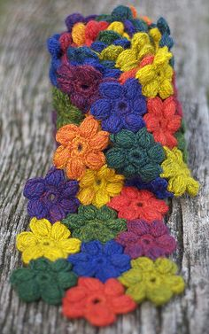 "Beautiful ""Scarf"" by namolio ~ no pattern but looks like a puff stitch flower"