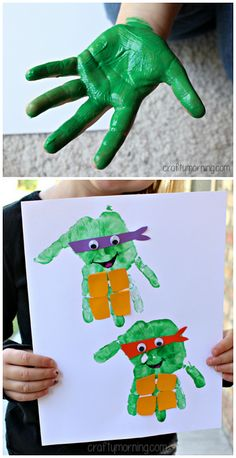 Handprint Ninja Turtle Craft for Kids | CraftyMorning.com