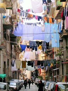 Naples, Italy street  Always see alot of laundry hanging in the streets in ITALY