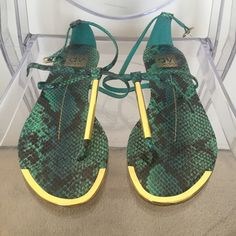 Dolce Vita sandals Green snake printed with gold hardware. Size 8.5. Good condition. Dolce Vita Shoes Sandals