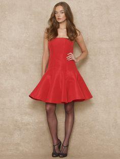 Silk Faille Strapless Dress - Mid Length Dresses Dresses - Ralph Lauren UK