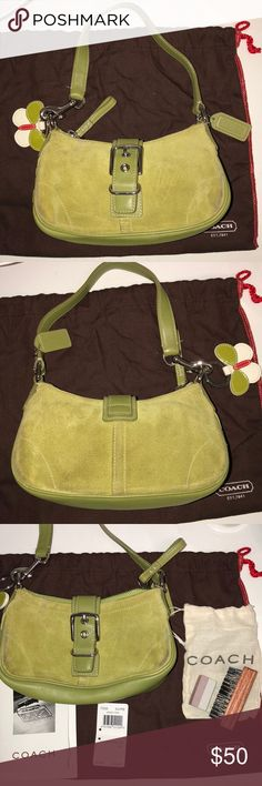 Coach Handbag in Lime Green Suede 💚 Authentic Coach Handbag in Chartreuse/ Lime Green Suede with leather strap. Detachable Coach butterfly keychain free with purchase! Some signs of wear, as seen in the pictures, but a lot of life left! Comes with care cards, price tag, dust bag, and suede cleaning kit. Coach Bags Shoulder Bags