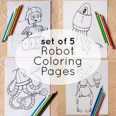5 Robot Coloring Page Printables Instant Download Digital File Cyborg Fun Robots By