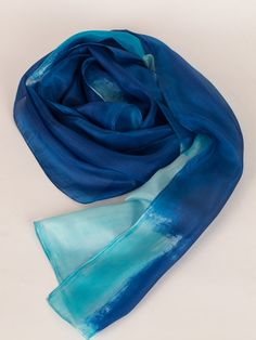 Hand painted silk scarf Blue Sky Abstract scarf by SilkScarvesDimo