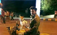 Charan with his pet on sets of dhruva