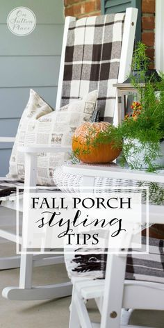 <3 Fall Porch Styling Tips | from On Sutton Place | Easy and budget friendly ways to add a festive touch of Fall to your outdoor spaces. Up your curb appeal by using the colors of the season and repurposing what you already have! #spon