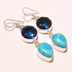 "15 GM BEAUTIFUL LARIMAR WITH BLUE ALEXANDRITE .925 SILVER EAR-RING2.60 "" #Handmade #Pendant"