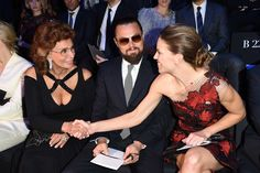 Sophia Loren, Leonardo DiCaprio, and Hilary Swank, all in Armani