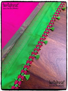 Saree Kuchu New Designs, Saree Tassels Designs, Silk Saree Blouse Designs, Indian Bridal Sarees, Wedding Silk Saree, Hand Work Blouse Design, Hand Embroidery Videos, Designer Blouse Patterns, Weaving Patterns