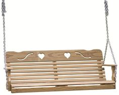 LuxCraft Pine Wood Cutout Heart Swing from DutchCrafters Amish Furniture. Heart cutouts and curving lines add a lovely detail to this solid wood porch swing. Available in 4' or 5' wide. #porchswing #hanging #freestanding #wooden #outdoor #bench