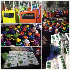 Laser tag/glow in the dark birthday party! Fluorescent Glow bracelets, colorful cupcakes and matching gift bags... Customized t-shirts for party goers make for a fun and inexpensive party!