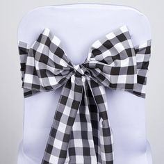 "5 PCS Black/White Gingham Polyester Chair Sashes Tie Bows Catering Outdoor Party Decorations - 6x108""( Sold Out )"