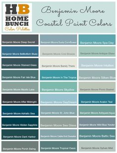 Benjamin Moore Color Palette, Benjamin Moore Color Ideas, Benjamin Moore Coastal Colors, Benjamin Moore gray-blues to aquas and into the deep blue and green paint color. Coastal Paint Colors, Green Paint Colors, Kitchen Paint Colors, Exterior Paint Colors, Paint Colors For Home, Wall Colors, House Colors, Coastal Decor, Coastal Style