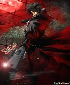"""""""Sorry I couldn't hear you. My GIANT TWIN PISTOLS were in the way"""" is what I think he's saying in this picture (LOLOLOL) #Alucaru #Hellsing"""