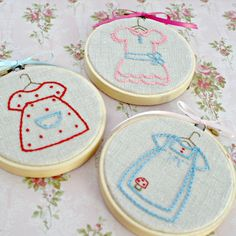 Hoop Art Hand Embroidery Set Natural Linen Baby Girl Room Decor Baby Shower Gift Pink Red Blue Dresses Set of 3