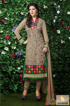 The fine looking grey santoon special occasion embroidery salwar suit appears good with heavy grey embroidery on it with nice work appears on gatherings.