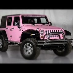 Jeep Wrangler In Pink My Is Going To Look Just Like This Only It Will Have Lights Above The Windshield And Be Hot