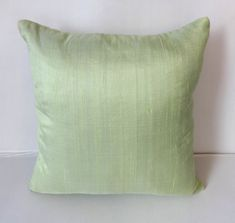 Powder Green dupioni silk pillow cover- 18 inch throw pillow- PASTEL SHADES- stock clearance 40% off