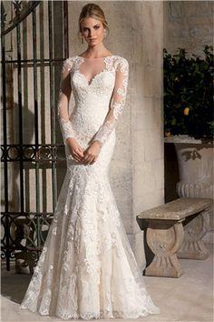 Romantic Lace Appliqued Gothic Wedding Dress  Wedding Ideas ...