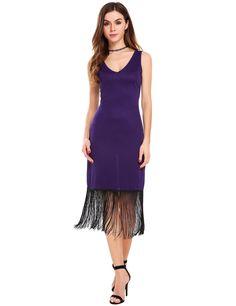 Black V-Neck Sleeveless Solid Fringed Midi Dress