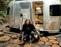 California native, Eddie Vedder, not known to be at all flashy is photographed with his Hipster Airstream Silver Bullet trailer. What else does a surfer, rocker need?