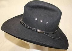 7f4e4a49 Vintage Stetson 4X Beaver Black Fur Felt Leather Band Western Hat Size 6 7/8  55 cm