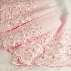 Broderie Anglaise Cotton Edging Trim Sugar Pink 2.8m x 170mm BA014 £8.70
