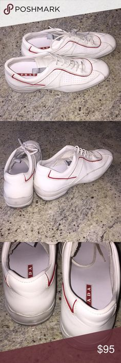 ❤️PRADA sneakers❤️ White PRADA sneakers, size 3E 40.5. EUC bc worm only once with a costume. Lace them multiple ways. These are unisex. White leather with red piping. Make an offer :) Prada Shoes Sneakers