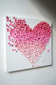 Pink Ombre Butterfly Heart/ 3D Butterfly Wall Art - easy to make this a DIY project.  Cut little tiny butterflies in ombre colors and glue in the shape of a heart.