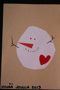 Joulukortti Cute Christmas Ideas, Merry Little Christmas, Christmas Crafts For Kids, Xmas Crafts, Simple Christmas, Christmas Time, All Things Christmas, Christmas Snowman, Christmas Greeting Cards