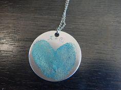 Lovely gift for a friend! Dark Blue Fingerprint Heart Pendant