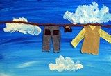students learn to paint a monochromatic sky + miniature clothing cut fm. fabric