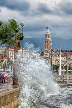 """Windy day at Split, Croatia. The waves are caused by the strongest wind in Europe and even one of the strongest in the world with gusts up to Croats call this wind """"Bura"""". Croatia Tourism, Croatia Travel, Croatian Coast, Pictures Of Beautiful Places, Dalmatia Croatia, Split Croatia, Thousand Islands, Windy Day, Island Beach"""