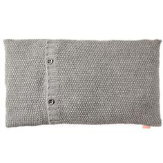 whkmp's OWN kussenhoesje 40x70 cm grijs gebreid kussen met knopen