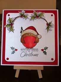 Cute Robin (HobbyArt Stamp) 6 x 6 Christmas Card