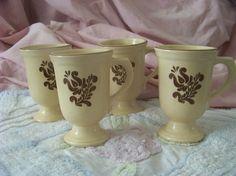 VINTAGE Pfaltzgraff Village Pedestal Mugs Set of by SandysEyeCandy, $25.00