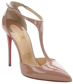 Christian Louboutin nude patent leather 'J String 100' t-strap pumps