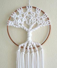 Macrame Tree Of Life Small 5 Inch Copper Hoop Wall by GeoJoyful Macrame Owl, Macrame Knots, Micro Macrame, Macrame Wall Hanging Patterns, Macrame Patterns, Macrame Projects, Crochet Projects, Modern Macrame, Purple Dream Catcher